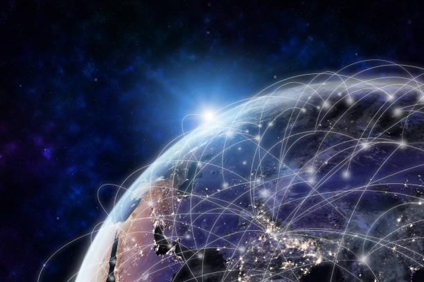 globalt nätverk modern kreativ telekommunikation och internetuppkoppling. - global bildbanksfoton och bilder