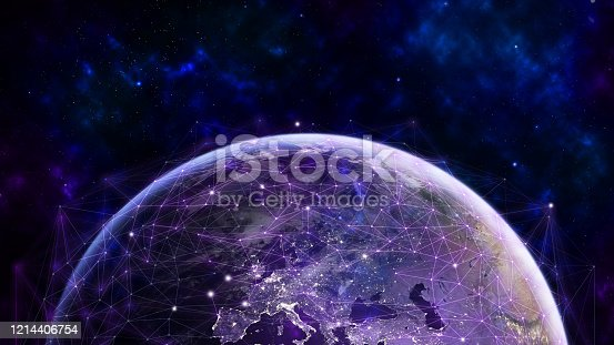 1141355850 istock photo Global network modern creative telecommunication and internet connection. 1214406754