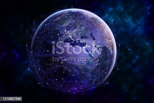 1141355850 istock photo Global network modern creative telecommunication and internet connection. 1215837592