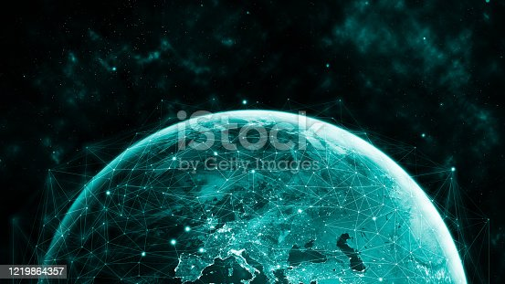 1141355850 istock photo Global network modern creative telecommunication and internet connection. 1219864357