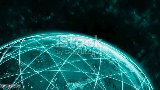 1141355850 istock photo Global network modern creative telecommunication and internet connection. 1219867127