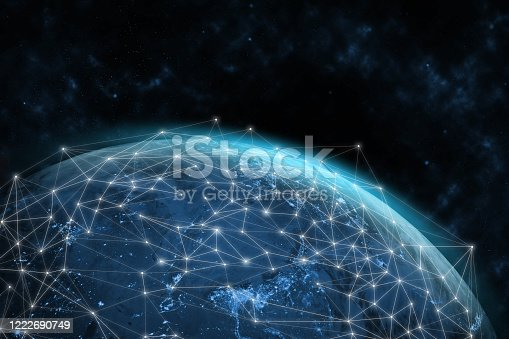 1141355850 istock photo Global network modern creative telecommunication and internet connection. 1222690749