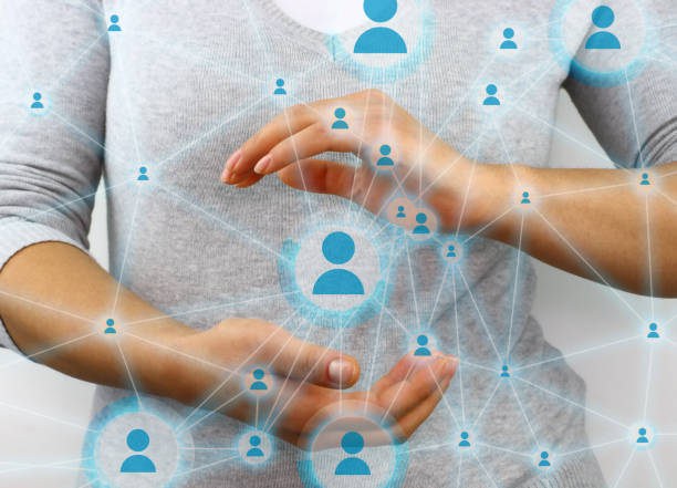 Global network of people interconnected stock photo