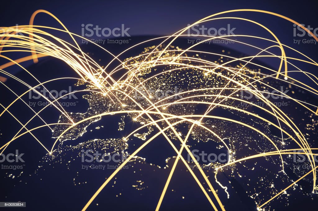 Global Network (World map texture credits to NASA) - foto stock