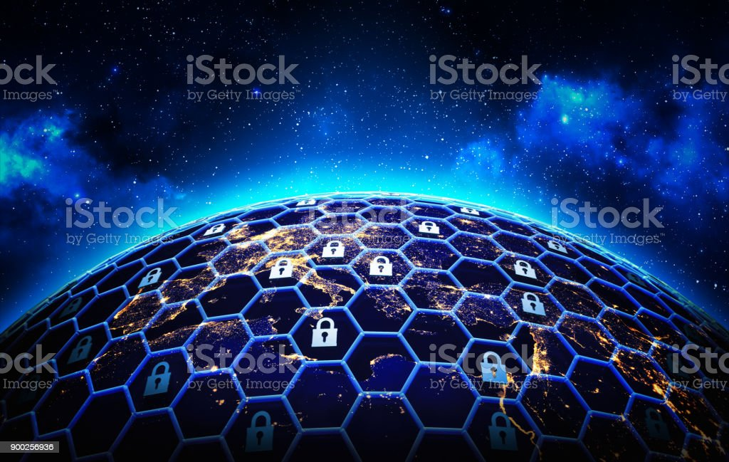 Global network security and data protection concept A grid of cells with a lock symbol in some of them  around the Earth globe on deep blue space background Accessibility Stock Photo