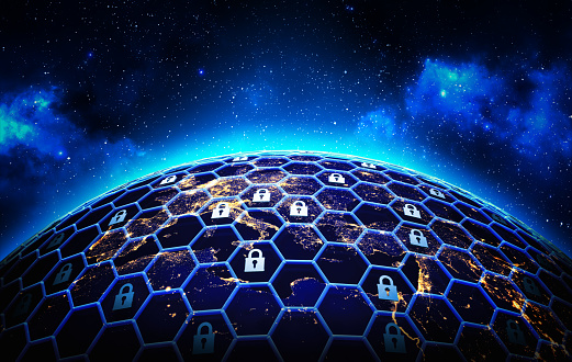Global Network Security And Data Protection Concept Stock Photo - Download Image Now