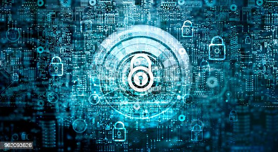 istock Global network security concept. Cyber Safety. Key. Closed padlock on abstract motherboard circuit digital background. Internet technology 962093626