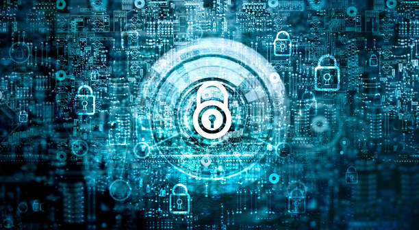 global network security concept. cyber safety. key. closed padlock on abstract motherboard circuit digital background. internet technology - privacy policy stock photos and pictures