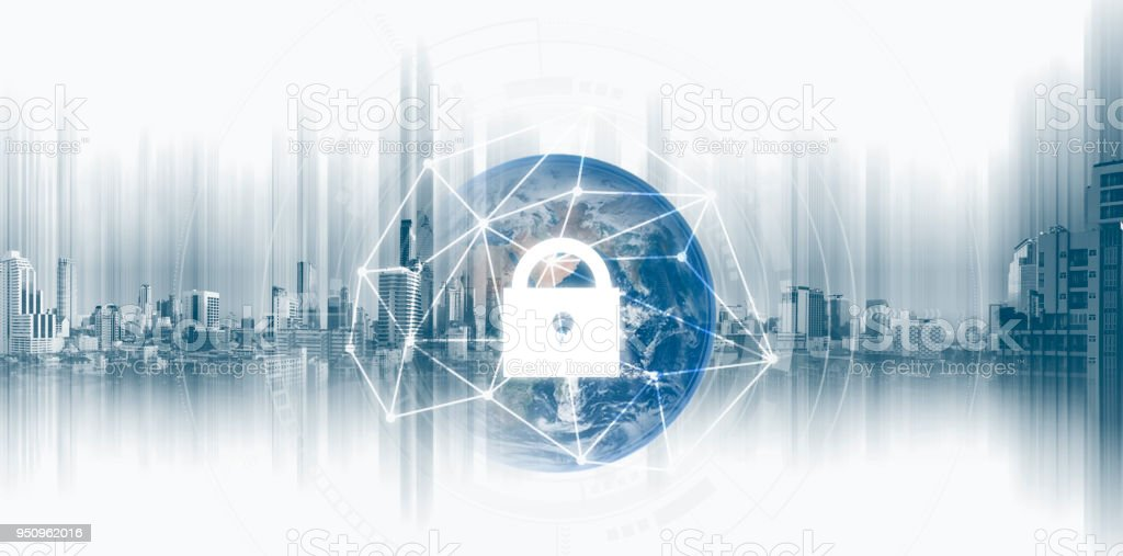 Global network security system technology. Globe and network connection and lock icon. Element of this image are published by NASA stock photo