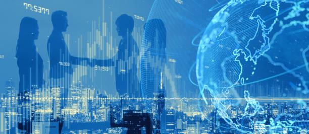 global netwrok concept. business partnership. - business woman hologram imagens e fotografias de stock
