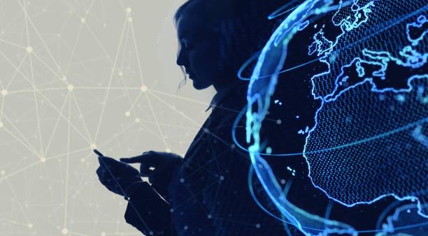 global netwrok concept. internet of things. iot. - business woman hologram imagens e fotografias de stock
