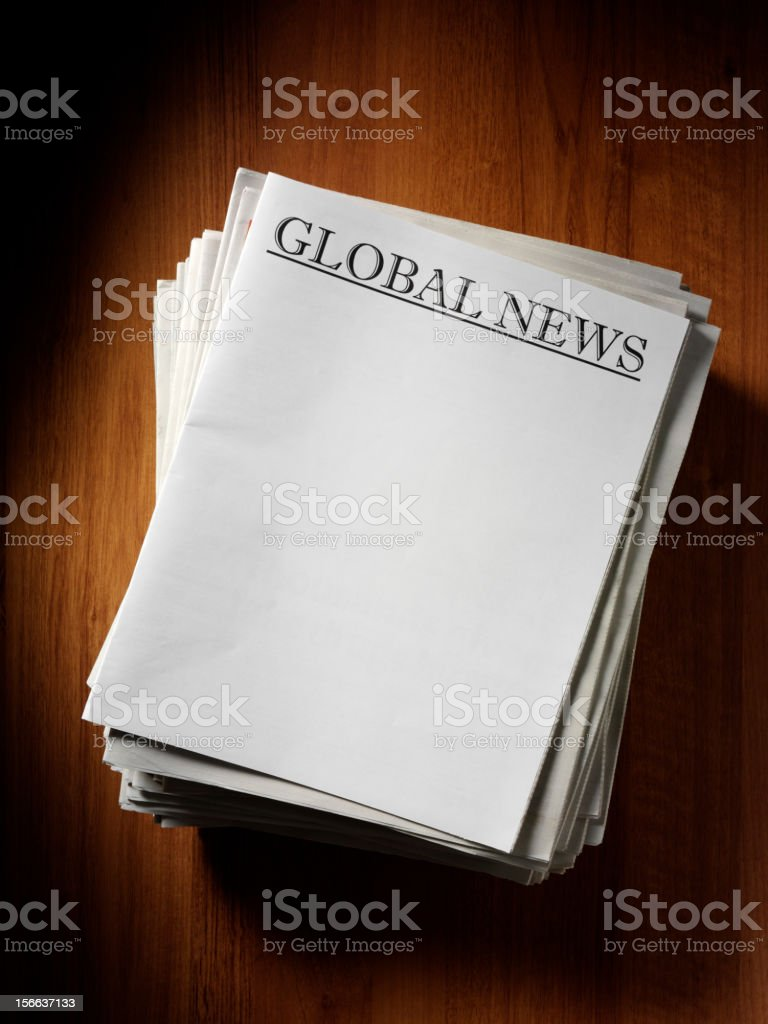 Global News Headline on a Newspaper royalty-free stock photo