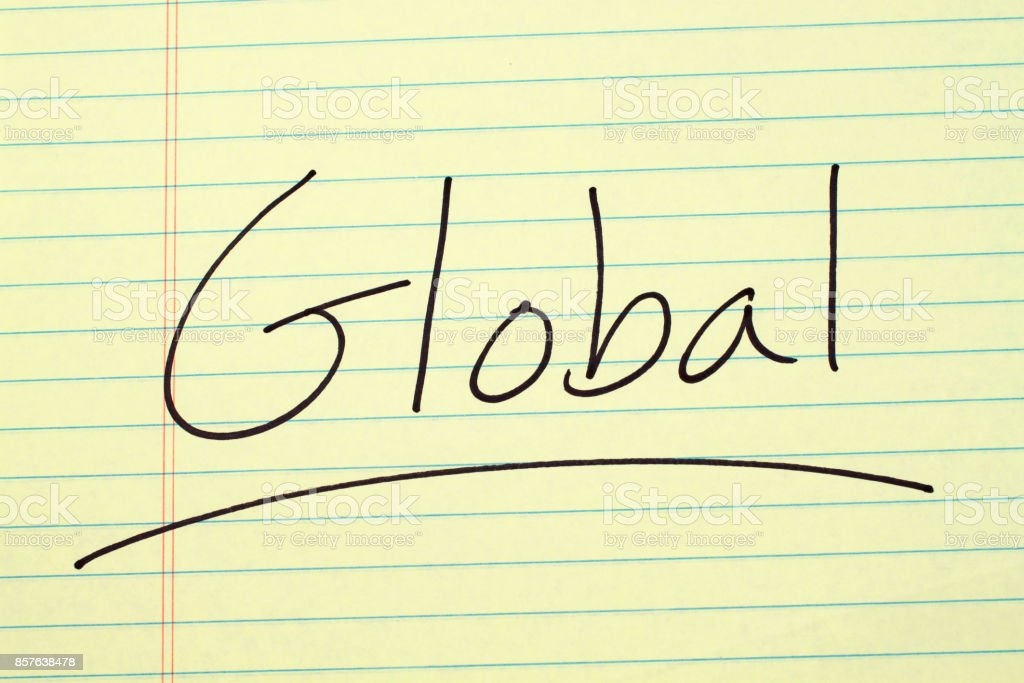 Global On A Yellow Legal Pad stock photo