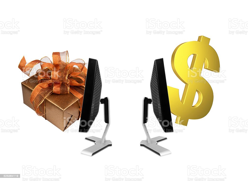 Global online shopping exchange stock photo