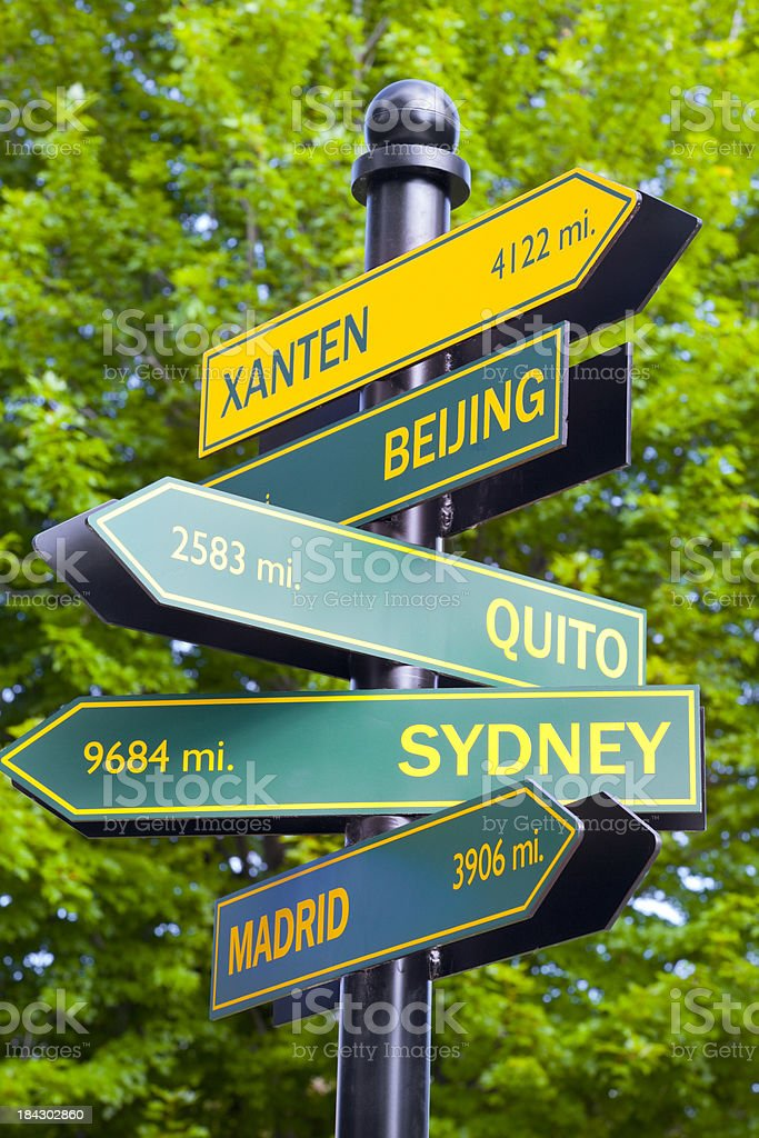 Global Perspective; Road Sign to the World royalty-free stock photo
