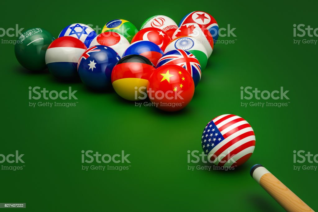 Global political confrontation, conflict concept. 3D rendering stock photo