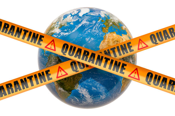 global quarantine concept. earth globe with caution barrier tapes, 3d rendering isolated on white background - covid testing zdjęcia i obrazy z banku zdjęć