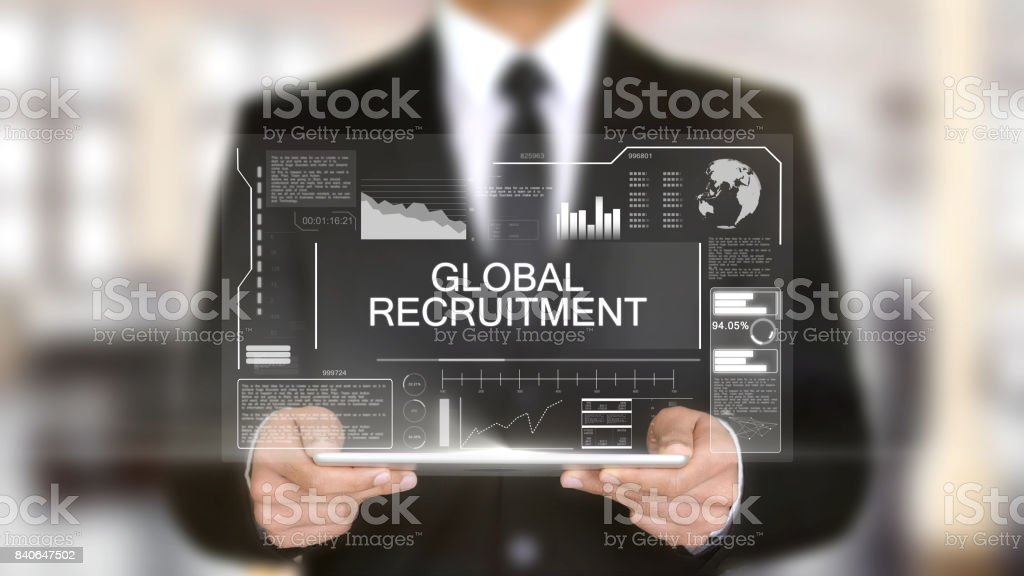 Global Recruitment, Hologram Futuristic Interface, Augmented Virtual Reality stock photo
