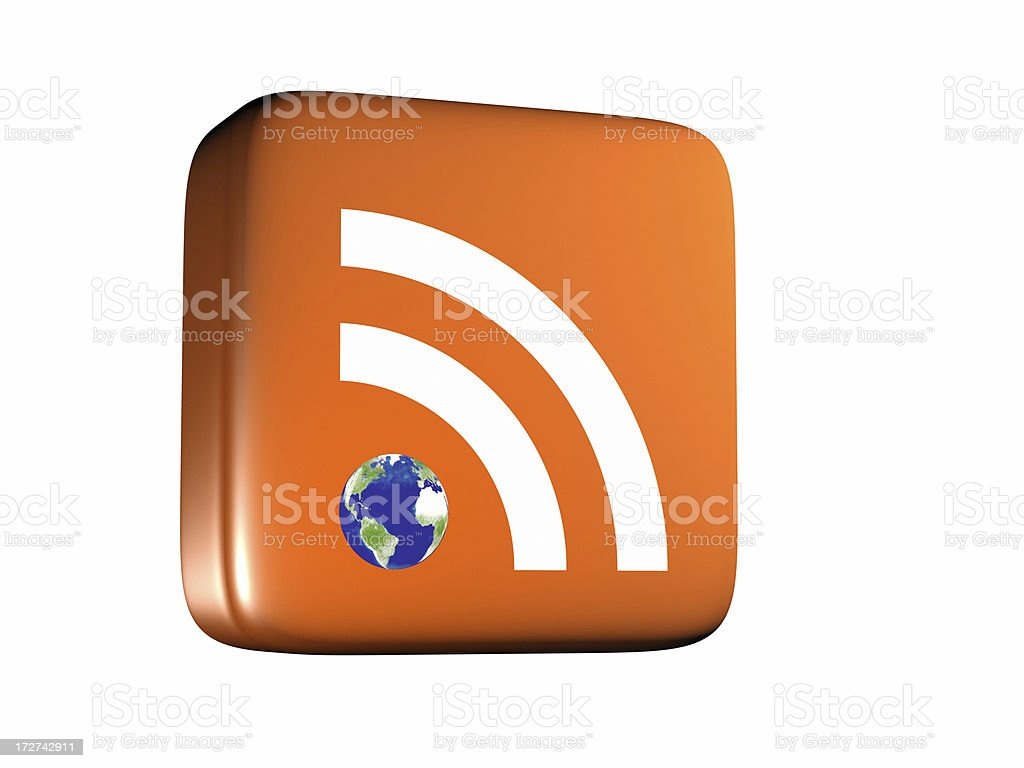 Global Rss Feed Icon From Side Stock Photo - Download Image