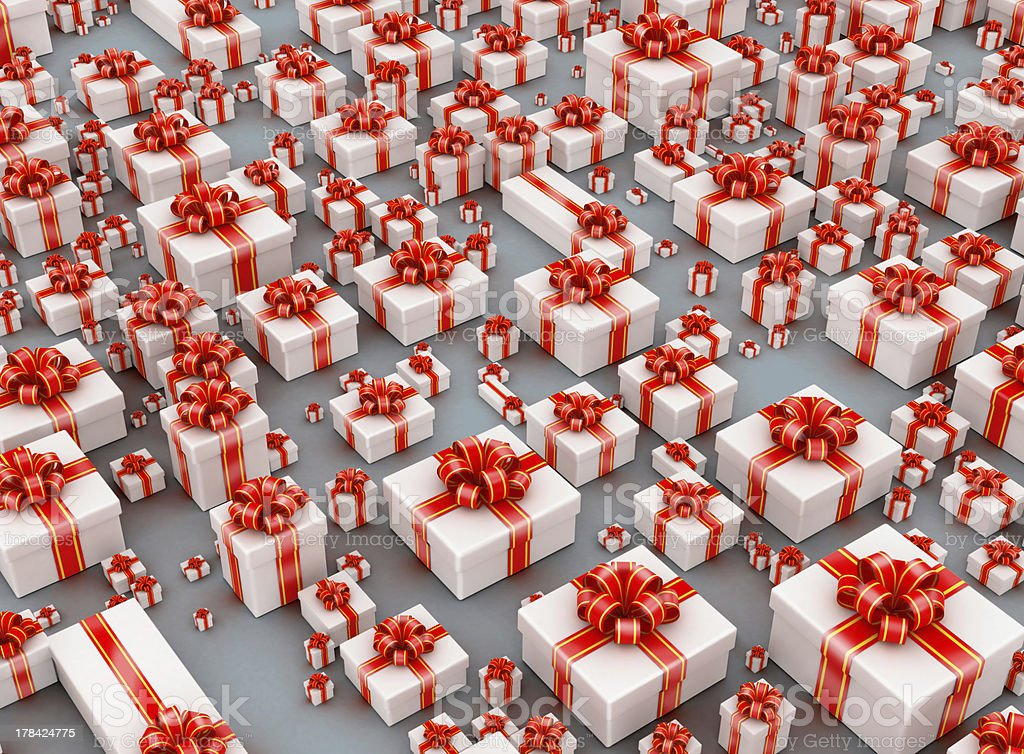 Hundreds gift boxes on gray background