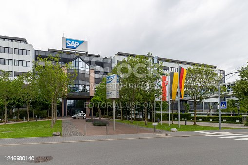 Walldorf, Germany - June 5, 2020. The image shows SAP, a global tech company who makes computer software for large corporates.