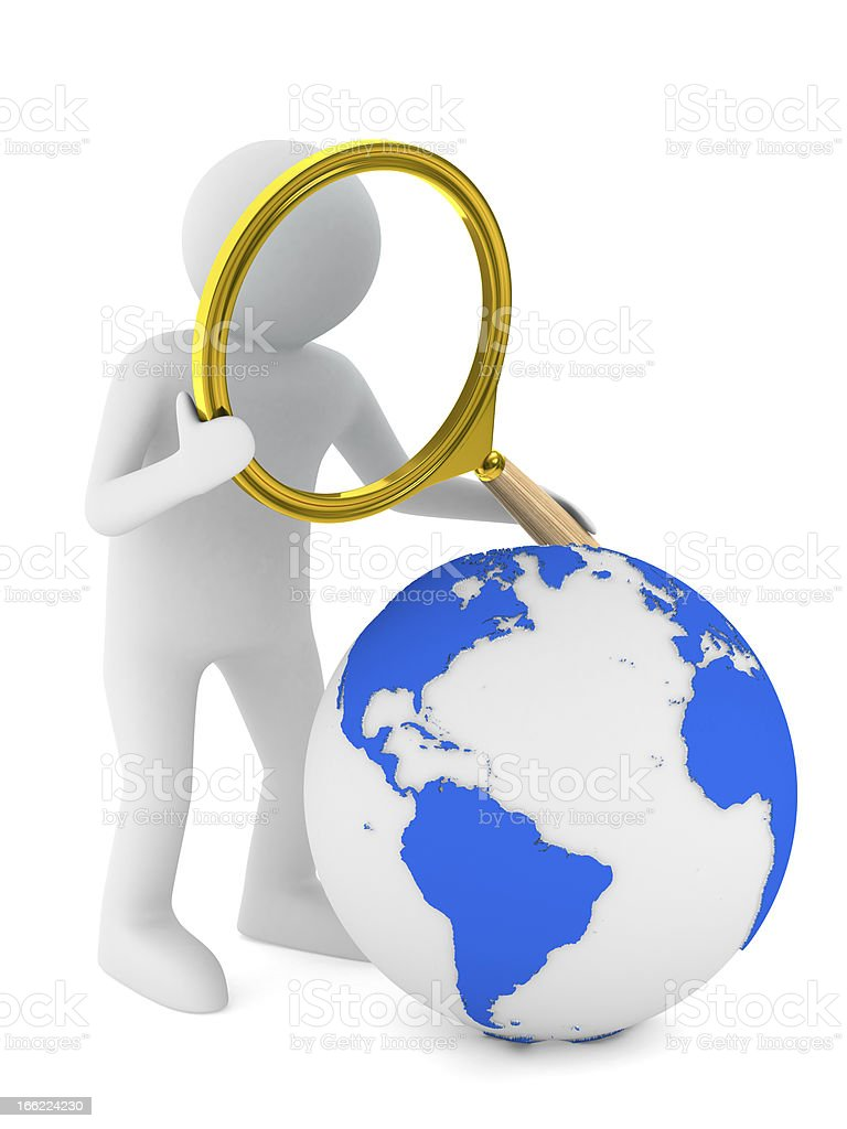 Global search. Isolated 3D image on white royalty-free stock photo