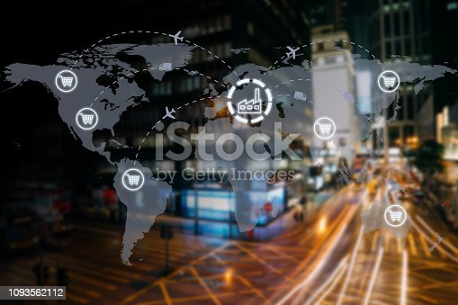 498272366istockphoto Global shipping logistic export trade network transportation connection delivering modern city future technology 1093562112