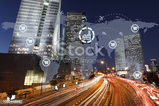498272366 istock photo Global shipping logistic export trade network transportation connection delivering modern city future technology 1095448892