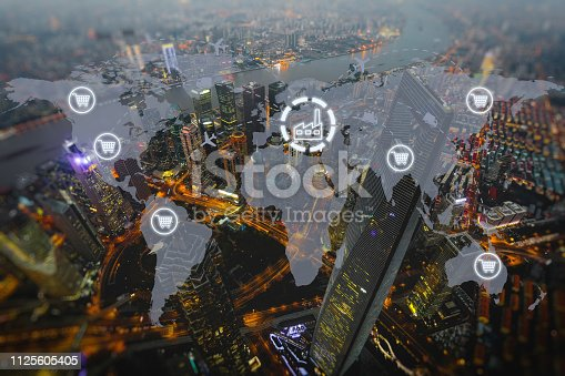 istock Global shipping logistic export trade network transportation connection delivering modern city future technology 1125605405