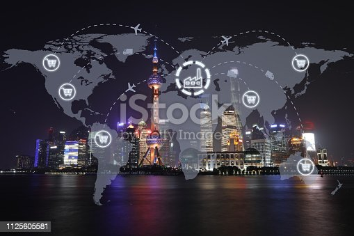 498272366 istock photo Global shipping logistic export trade network transportation connection delivering modern city future technology 1125605581