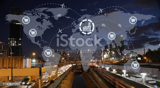 638310484 istock photo Global shipping logistic export trade network transportation connection delivering modern city 1140841202