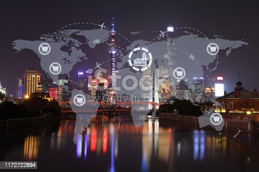 istock Global shipping logistic export trade network transportation connection delivering modern city 1172722894