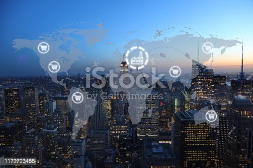 1004013316 istock photo Global shipping logistic export trade network transportation connection delivering modern city 1172723455
