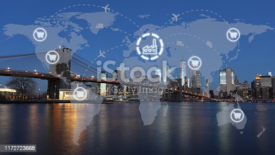 1004013316 istock photo Global shipping logistic export trade network transportation connection delivering modern city 1172723668
