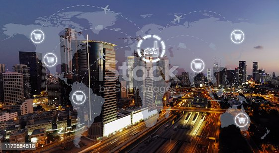 1004013316 istock photo Global shipping logistic export trade network transportation connection delivering modern city 1172884816
