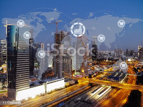 1004013316 istock photo Global shipping logistic export trade network transportation connection delivering modern city 1172884889