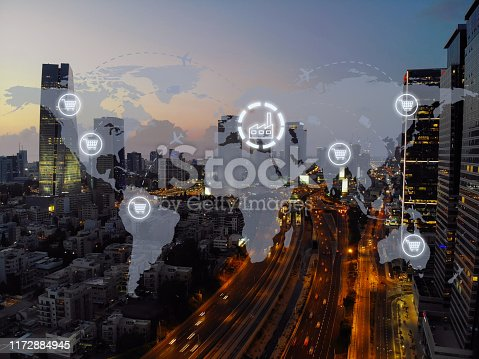 1004013316 istock photo Global shipping logistic export trade network transportation connection delivering modern city 1172884945