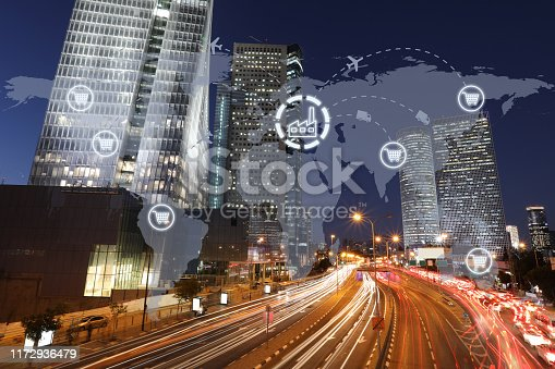 1004013316 istock photo Global shipping logistic export trade network transportation connection delivering modern city 1172936479