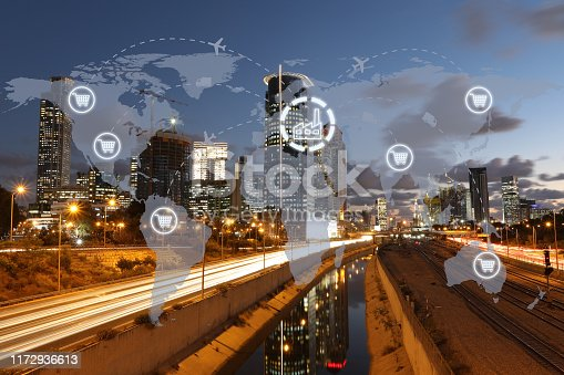 1004013316 istock photo Global shipping logistic export trade network transportation connection delivering modern city 1172936613