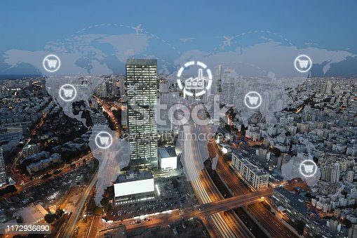 1004013316 istock photo Global shipping logistic export trade network transportation connection delivering modern city 1172936690