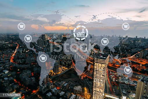 1004013316 istock photo Global shipping logistic export trade network transportation connection delivering modern city 1174402863