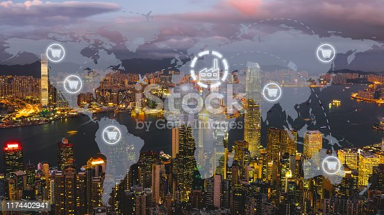 1004013316 istock photo Global shipping logistic export trade network transportation connection delivering modern city 1174402941