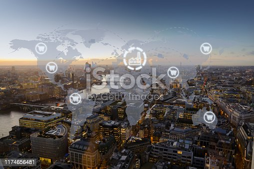 1004013316 istock photo Global shipping logistic export trade network transportation connection delivering modern city 1174656481
