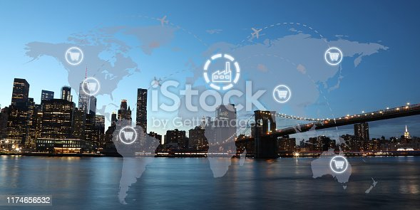 1004013316 istock photo Global shipping logistic export trade network transportation connection delivering modern city 1174656532