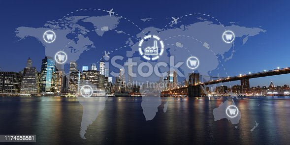 1004013316 istock photo Global shipping logistic export trade network transportation connection delivering modern city 1174656581
