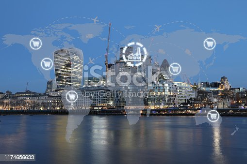 1004013316 istock photo Global shipping logistic export trade network transportation connection delivering modern city 1174656633