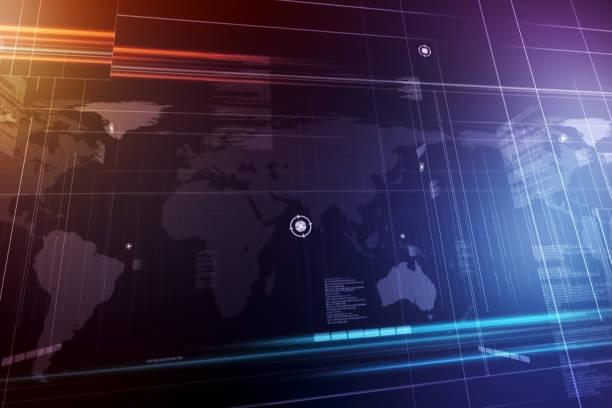 globala koncentrationsförmåga världskarta på lila bakgrund. grafisk animation. - graphs animation bildbanksfoton och bilder
