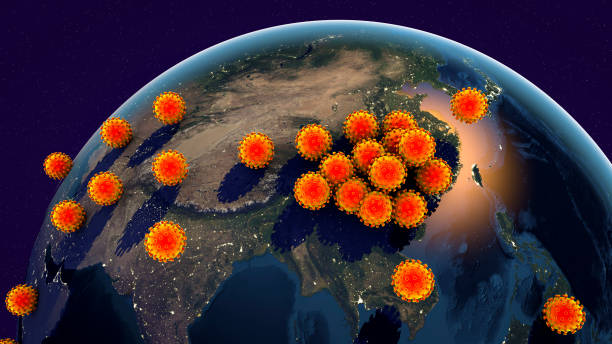 Global spread of a Novel Wuhan coronavirus, conceptual image stock photo