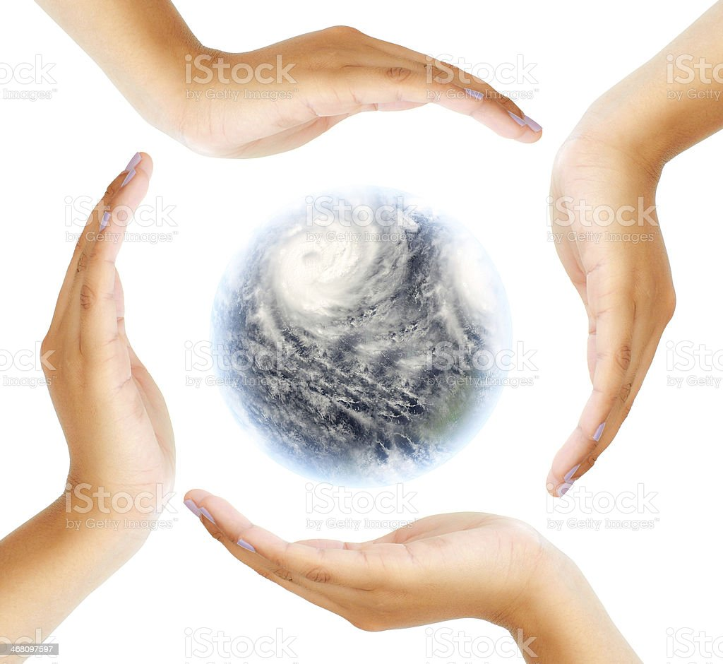 Global Storm in Hand circle royalty-free stock photo