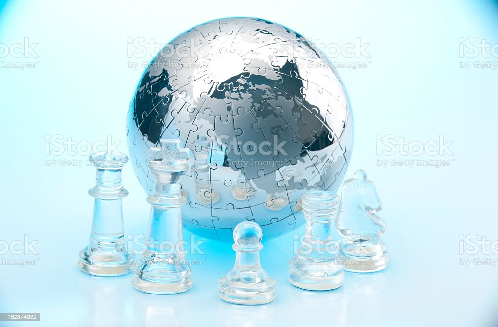 Global Strategy concept with Chess pieces royalty-free stock photo